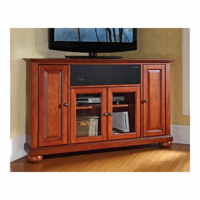 """Alexandria 48"""" Corner Aroundsound Tv Stand In Classic Within Well Known Corner Tv Stands For Tvs Up To 48"""" Mahogany (View 4 of 10)"""