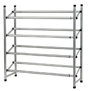 Amazon: 4 Tier Metal Shoe Rack Silver Large: Home Throughout Widely Used Mainstays Payton View Tv Stands With 2 Bins (View 7 of 10)