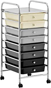 Amazon: 8 Drawer Rolling Trolley Storage Organizer Intended For Widely Used Modern Mobile Rolling Tv Stands With Metal Shelf Black Finish (View 2 of 10)