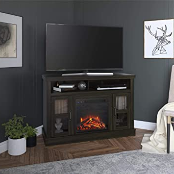 """Amazon: Ameriwood Home Tinley Park Corner Fireplace 54 Regarding Fashionable Ameriwood Home Rhea Tv Stands For Tvs Up To 70"""" In Black Oak (View 1 of 10)"""
