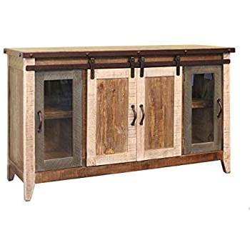 """Amazon: Burleson Home Furnishings Anton Distressed Inside Preferred Modern Farmhouse Style 58"""" Tv Stands With Sliding Barn Door (View 3 of 10)"""