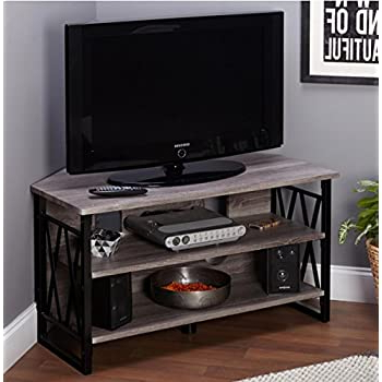 Amazon: Corner Tv Stands For Flat Screens Rustic Wood For Trendy Conrad Metal/glass Corner Tv Stands (View 4 of 10)