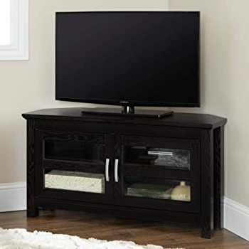 """Amazon: Home Accent Furnishings Lucas 44 Inch Glass Inside Most Current Wood Corner Storage Console Tv Stands For Tvs Up To 55"""" White (View 9 of 10)"""
