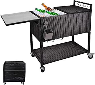 Amazon : Hosfo 80 Quart Outdoor Rolling Patio Cooler Inside Most Popular Modern Mobile Rolling Tv Stands With Metal Shelf Black Finish (View 9 of 10)