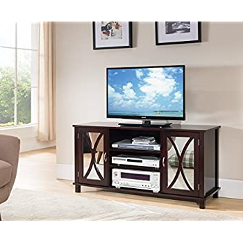 Amazon: Kings Brand Furniture Tv Stand Storage Console Throughout Favorite Wide Tv Stands Entertainment Center Columbia Walnut/black (View 7 of 10)