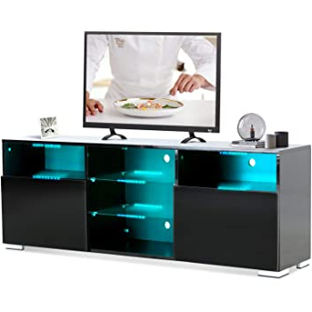 Amazon: Moerae 57'' Tv Unit Cabinet Stand, With Led For Preferred Ktaxon Modern High Gloss Tv Stands With Led Drawer And Shelves (View 5 of 10)
