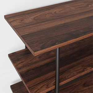 Amazon: Nathan James Adler 3 Tier Modern Tv Stand Or Inside Well Known Media Console Cabinet Tv Stands With Hidden Storage Herringbone Pattern Wood Metal (View 3 of 10)