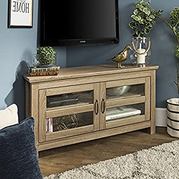 """Amazon: New 44 Inch Wide Corner Television Stand In Most Recent Glass Doors Corner Tv Stands For Tvs Upto 42"""" (View 3 of 10)"""