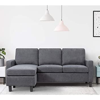 Amazon: Purple Sectional Sofa With Lounger Chaise For Most Recent Polyfiber Linen Fabric Sectional Sofas Dark Gray (View 5 of 10)