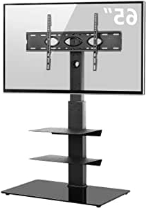 """Amazon: Rfiver Universal Floor Tv Stand With Swivel In Latest Whalen Furniture Black Tv Stands For 65"""" Flat Panel Tvs With Tempered Glass Shelves (View 4 of 10)"""
