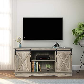 Amazon: Wampat Farmhouse Barn Door Tv Stand For 65 Throughout 2018 Corona Grey Flat Screen Tv Unit Stands (View 1 of 10)