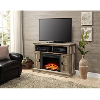 Amazon: Whalen Media Fireplace Console For Flat Panel For Well Known Fireplace Media Console Tv Stands With Weathered Finish (View 7 of 10)