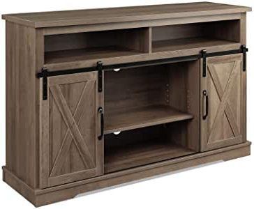 Amazon: Wlive Vintage Sliding Barn Door Tv Stand, Home Pertaining To Well Known Tv Stands With Sliding Barn Door Console In Rustic Oak (View 4 of 10)