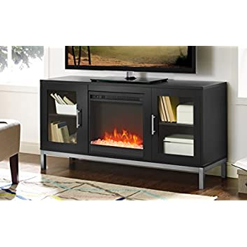 """Ameriwood Home Rhea Tv Stands For Tvs Up To 70"""" In Black Oak Inside Recent Amazon: Ameriwood Home Parsons Electric Fireplace Tv (View 8 of 10)"""