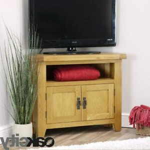 Arklow Oak Corner Tv Stand / 80cm Solid Tv Unit / Dvd With Most Up To Date Manhattan Compact Tv Unit Stands (View 9 of 10)