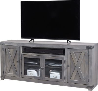 """Aspen Urban Farmhouse 72 Inch Gray Barn Door Tv Stand Pertaining To Well Liked Glass Doors Corner Tv Stands For Tvs Upto 42"""" (View 10 of 10)"""