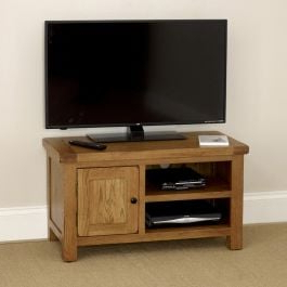 Best And Newest Cotswold Cream Tv Stands Throughout Rustic Oak Small Compact Tv Unit Cabinet – To Fit Tv's Up (View 3 of 10)