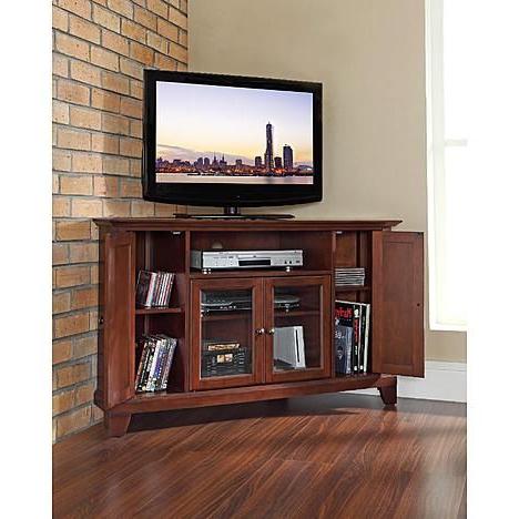 "Best And Newest Crosley Furniture Newport 48in Corner Tv Stand In Vintage Regarding 60"" Corner Tv Stands Washed Oak (View 8 of 10)"