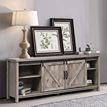 """Best And Newest Jaxpety 58"""" Farmhouse Sliding Barn Door Tv Stands In Rustic Gray Throughout Amazon: Sliding Door Tv Stand (View 4 of 10)"""