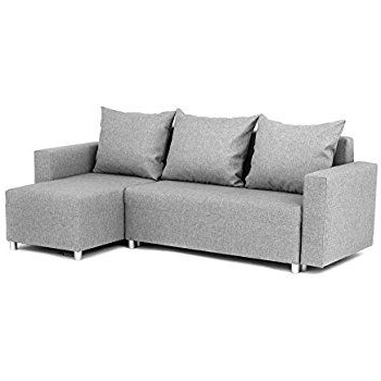 Best And Newest Prato Storage Sectional Futon Sofas Within Oslo Corner Sofa Bed With Underneath Storage In Grey Linen (View 8 of 10)