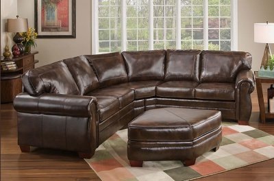 Best And Newest Tobacco Bonded Leather Classic Sectional Sofa W/ottoman For 3pc Bonded Leather Upholstered Wooden Sectional Sofas Brown (View 4 of 10)
