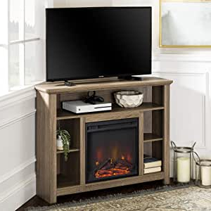 """Best And Newest We Furniture 44"""" Driftwood Wood Corner Fireplace Tv Stand Pertaining To Rustic Corner 50"""" Solid Wood Tv Stands Gray (View 6 of 10)"""