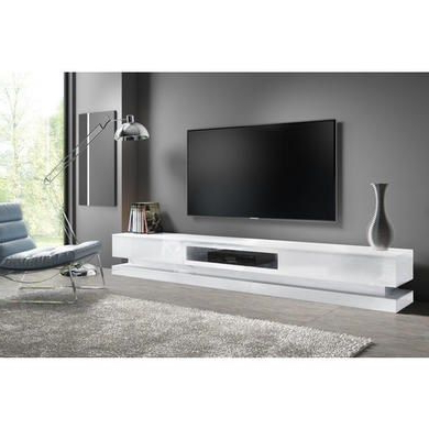 Best And Newest Zimtown Tv Stands With High Gloss Led Lights Regarding Evoque Large White High Gloss Tv Unit Stand With Led (View 8 of 10)