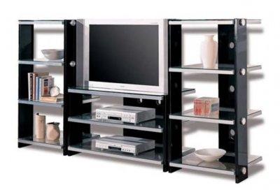 Black Contemporary Tv Stand W/metal Frame & Glass Shelves Inside Trendy Glass Shelf With Tv Stands (View 7 of 10)
