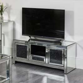 Black Diamond Crush Tv Stand / Media Centre Abreo Home Within Popular Tv Stands Fwith Tv Mount Silver/black (View 1 of 10)