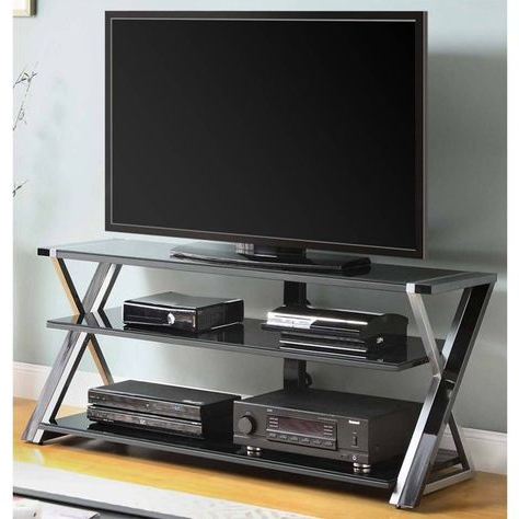 """Black Glass Tv With Whalen Furniture Black Tv Stands For 65"""" Flat Panel Tvs With Tempered Glass Shelves (View 10 of 10)"""
