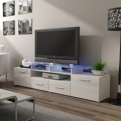 Bmf Evora White Tv Stand 194cm Wide White High Gloss Led With Regard To Famous Zimtown Tv Stands With High Gloss Led Lights (View 10 of 10)