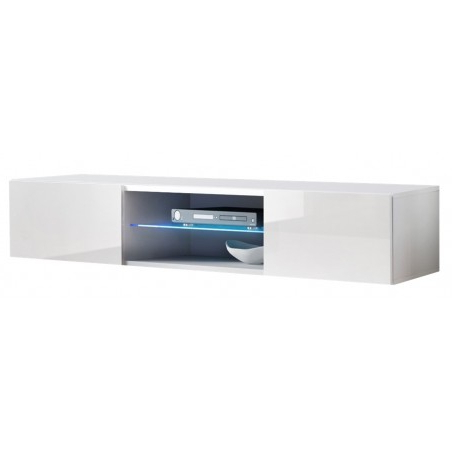 Bmf Fly 33 Tv Stand 160cm Wide Push Click Doors Glass In Recent Bromley White Wide Tv Stands (View 5 of 10)