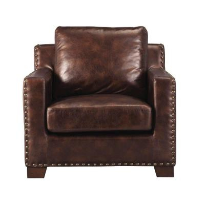 Bonded Leather All In One Sectional Sofas With Ottoman And 2 Pillows Brown Regarding Most Up To Date Home Decorators Collection Garrison Brown Leather Sofa (View 9 of 10)