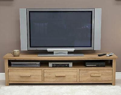 Boston Widescreen Tv Large Cabinet Stand Unit Solid Oak Within Most Up To Date Cotswold Widescreen Tv Unit Stands (View 6 of 10)