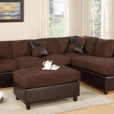 Brown Sectional Sofa, Modern Regarding 2018 3pc Faux Leather Sectional Sofas Brown (View 2 of 10)