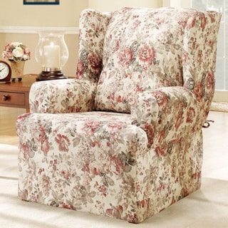 Camila Poly Blend Sectional Sofas Off White Regarding Best And Newest Sure Fit Chloe Floral Wing Chair Slipcover – Overstock (View 1 of 10)