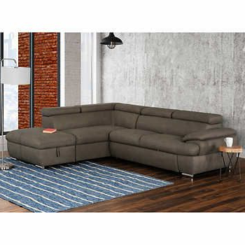 Celine Sectional Futon Sofas With Storage Reclining Couch In Most Current Nyssa Taupe Right Hand Facing Sectional With Pull Up Sofa (View 7 of 10)