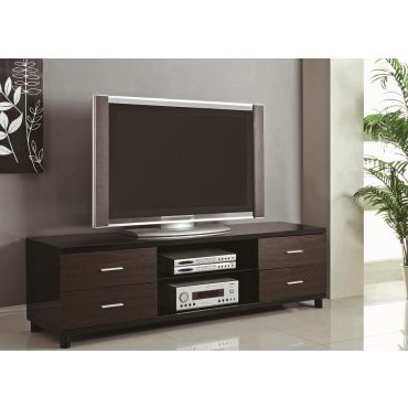 Cerro Black Lacquer Finish Tv Stand For Well Known Modern Black Tv Stands On Wheels (View 6 of 10)