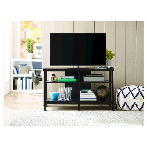 Chromium Extra Wide Tv Unit Stands Throughout Well Known Open Shelf Tv Stand – Black (View 1 of 10)