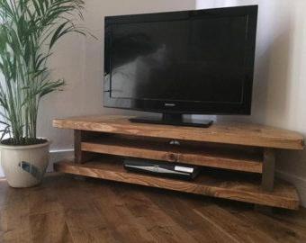Chunky Rustic Tv Corner Unit Heavy Solid Wood Regarding Current Modern 2 Glass Door Corner Tv Stands (View 2 of 10)