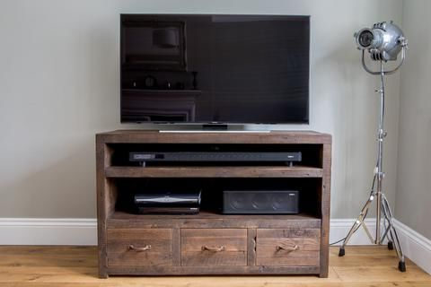 Classic 120cm Triple Tv Stand With Antique Handles With Favorite Tiva Oak Ladder Tv Stands (View 2 of 10)