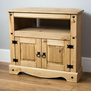 Corona Corner Tv Unit Cabinet Mexican Solid Pine Wood With Well Liked Scandi 2 Drawer Grey Tv Media Unit Stands (View 4 of 10)