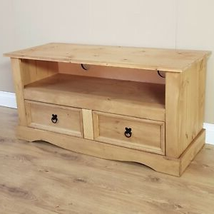 Corona Tv Stands In Recent Corona Tv Unit Flat Screen Wide Stand 2 Drawer Solid Pine (View 5 of 10)