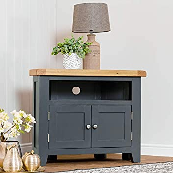 Corona White Corner Tv Unit Stands With Widely Used The Furniture Outlet Hampshire Blue Painted Oak Corner Tv (View 3 of 10)