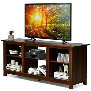 """Costway 2 Tier 58"""" Tv Stand Entertainment Media Console Intended For Best And Newest Tier Entertainment Tv Stands In Black (View 6 of 10)"""