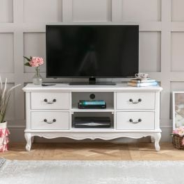 Cotswold Cream Tv Stands For 2018 French Chateau White Painted Widescreen Tv Unit – To Fit (View 7 of 10)