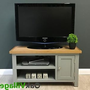 Cotswold Cream Tv Stands Within 2018 Grey Painted Small Tv Unit Oak / Solid Wood Media Cabinet (View 6 of 10)