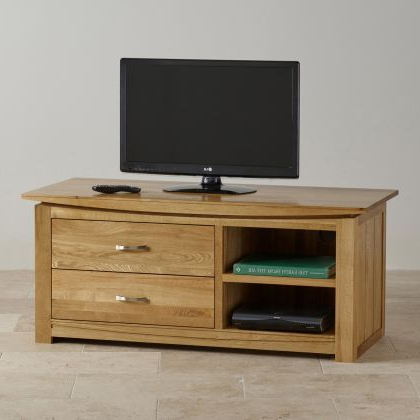 Cotswold Widescreen Tv Unit Stands With Regard To Famous Tokyo Natural Solid Oak Large Tv Cabinet – Image  (View 8 of 10)