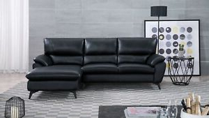 Current 2pc Connel Modern Chaise Sectional Sofas Black With 2 Pc Modern Black Genuine Leather Sofa Chaise Living Room (View 1 of 10)