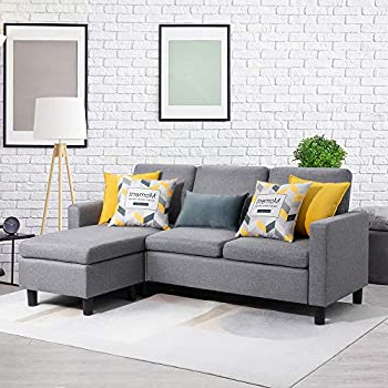 Current Amazon: Walsunny Convertible Sectional Sofa Couch With Regarding Mireille Modern And Contemporary Fabric Upholstered Sectional Sofas (View 5 of 10)